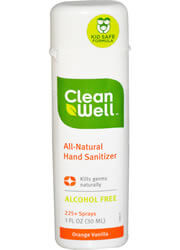 Clean Well, All-Natural Hand Sanitizer, Orange Vanilla, 1 fl oz (30 ml)