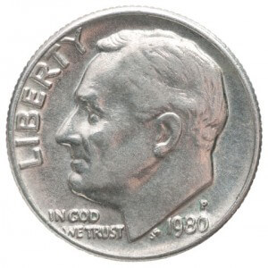 One dime coin with the image of President Franklin D. Roosevelt