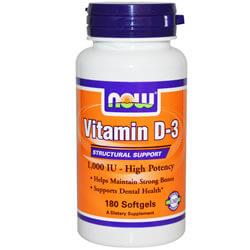 Now Foods, Витамин D-3,  1000 МЕ, 180 Softgels