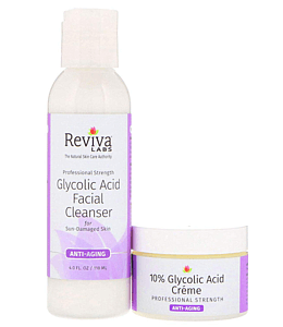 Reviva Labs, 10% Glycolic Acid Creme & Glycolic Acid Facial Cleanser