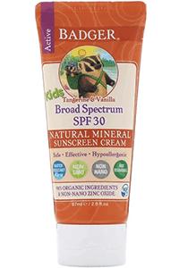 Badger Company, Active Kids, Натуральный минеральный солнцезащитный крем, SPF 30 PA +++, мандарин и ваниль, 87 мл