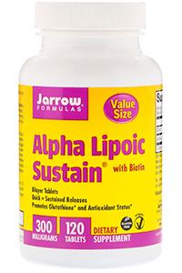 Jarrow Formulas, Alpha Lipoic Sustain с биотином, 300 мг, 120 таблеток